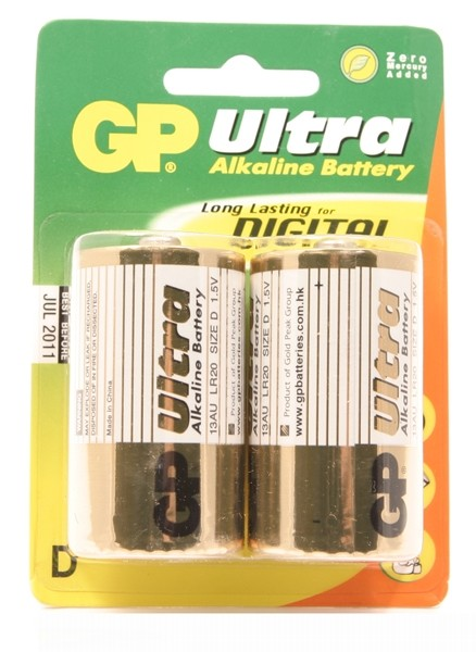 GP Ultra Alkaline LR20 (D Mono) grote staaf, blister 2 (13AU
