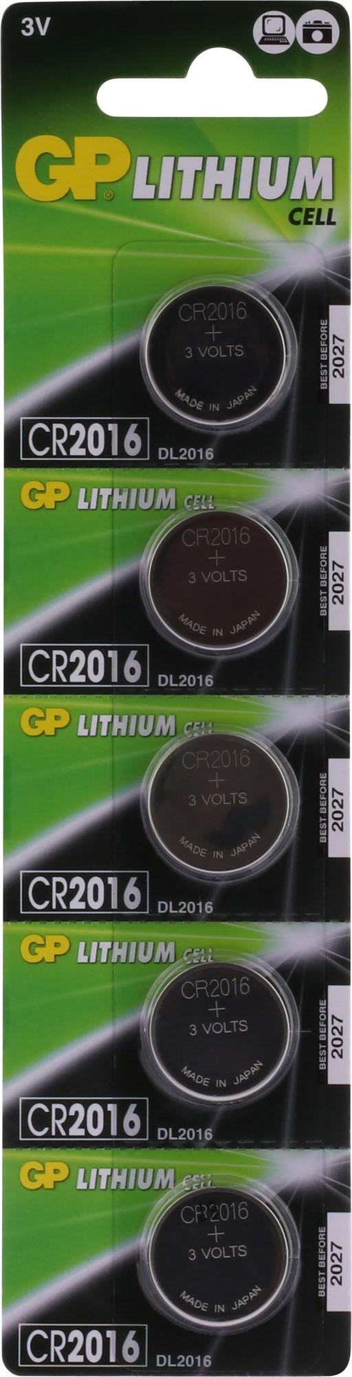 GP Lithium knoopcel CR2016, blister 5x1