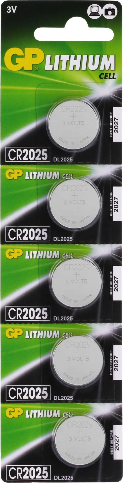 GP Lithium knoopcel CR2025, blister 5x1
