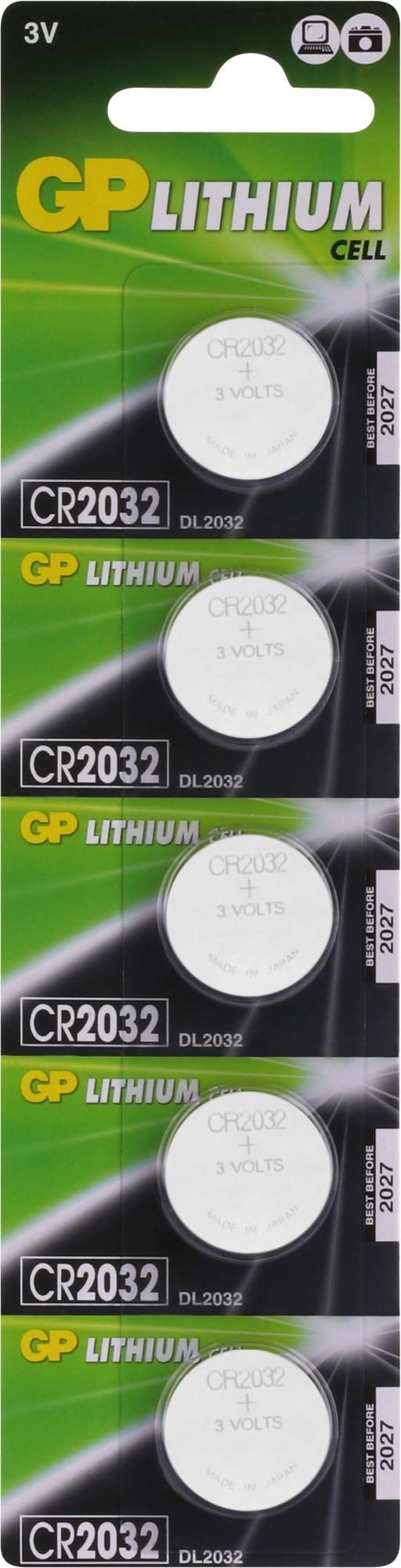 GP Lithium knoopcel CR2032, blister 5x1 (parrot mki)