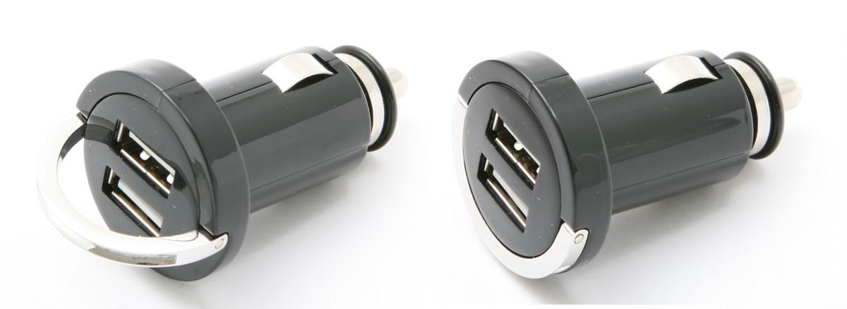 Autolader 12/24V Mini 2x USB female 2.1 Ampere