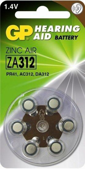 GP ZA312 Hoorapparaat batterij (bruin) blister 6